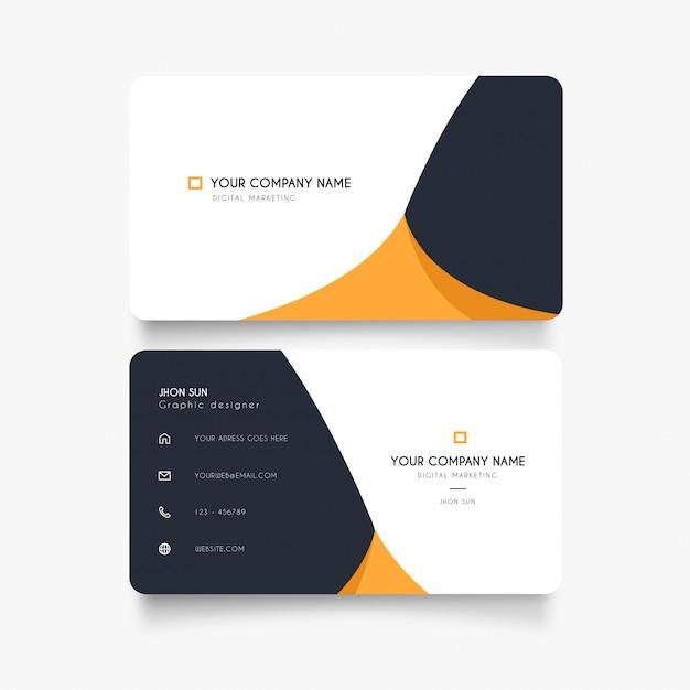 Schoon visitekaartje met abstracte oranje golf Gratis Vector