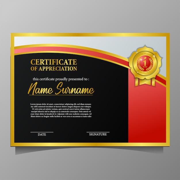 83eecb5087dbc1 schoonheid certificaat met gouden pin medaille premium kwaliteit en zwarte  achtergrond Premium Vector