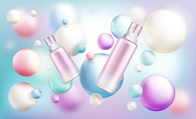 Schoonheid cosmetica flessen van verschillende grootte Gratis Vector