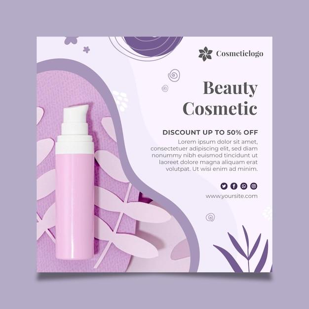 Schoonheid cosmetische kwadraat flyer Gratis Vector