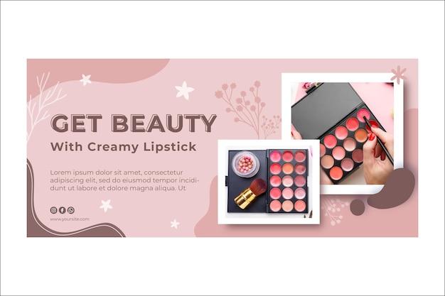 Schoonheid cosmetische natuurlijke make-up banner Premium Vector