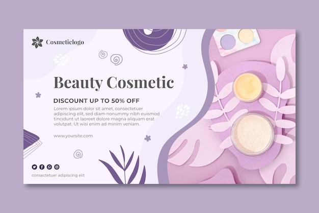 Schoonheid cosmetische sjabloon voor spandoek Premium Vector