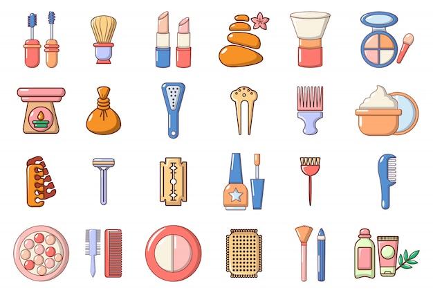Schoonheid element pictogramserie. beeldverhaalreeks vectorpictogrammen van het schoonheidselement geplaatst geplaatst Premium Vector