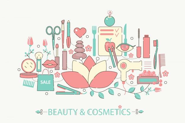 Schoonheid en cosmetica platte lijn concept Premium Vector