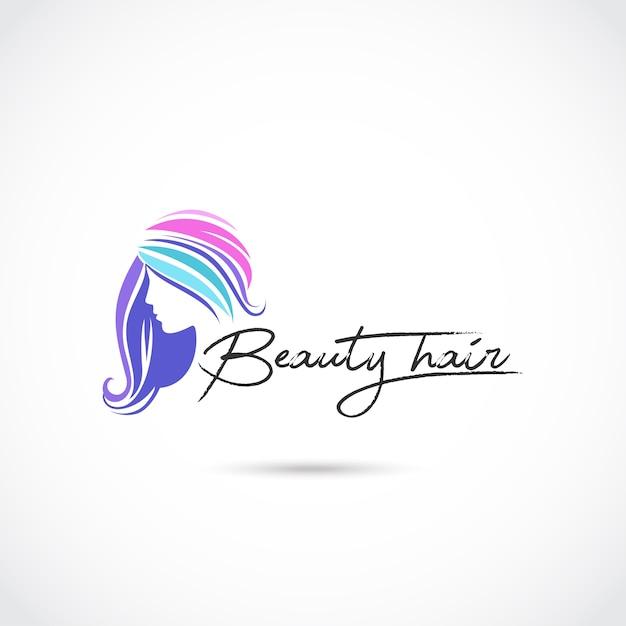 Schoonheid haarverzorging logo-ontwerp Premium Vector