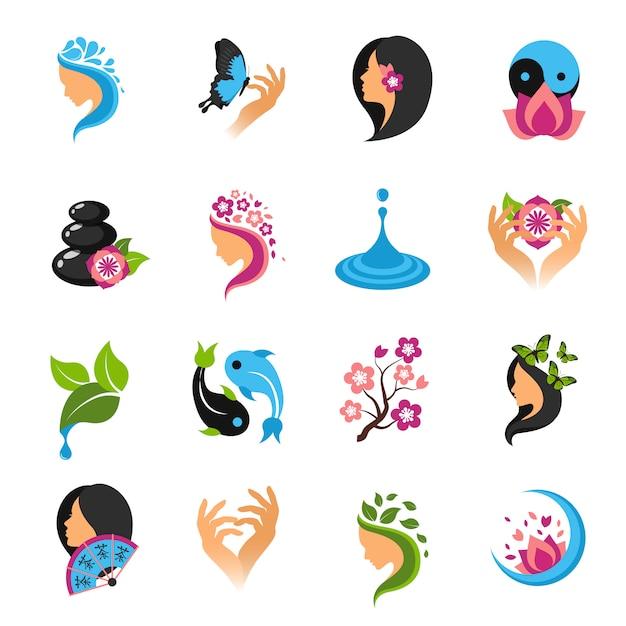 Schoonheid icons set Gratis Vector