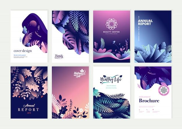 Schoonheid jaarverslag dekking sjabloon ontwerpset Premium Vector