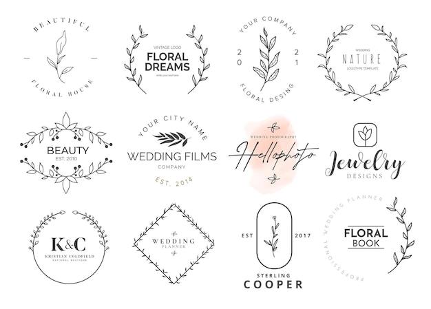 Schoonheid logo collectie met florale ornamenten Gratis Vector