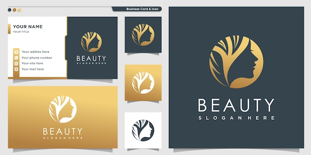 Schoonheid logo met gouden stijl voor vrouwen en visitekaartje ontwerpsjabloon Premium Vector