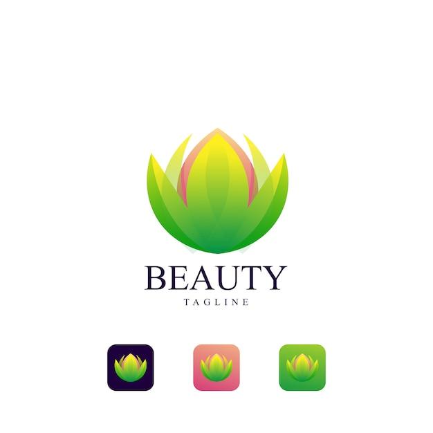 Schoonheid lotus logo sjabloon Premium Vector