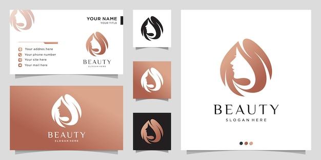 Schoonheidslogo voor vrouw met modern concept en visitekaartjeontwerp Premium Vector