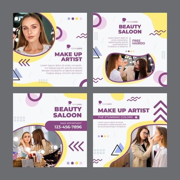Schoonheidssalon instagram-berichten Gratis Vector