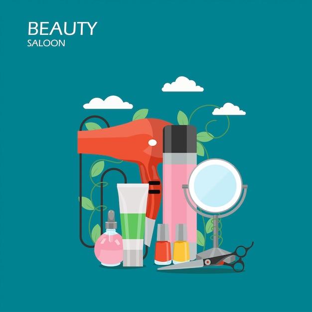 Schoonheidssalon vlakke stijl illustratie Premium Vector