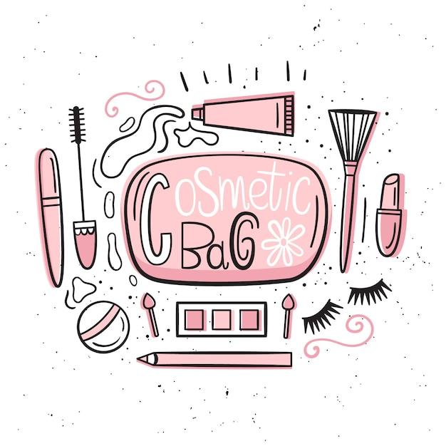 Schoonheidsspecialist. illustratie in handgetekende stijl. een reeks items die zich in de make-up bevinden Premium Vector