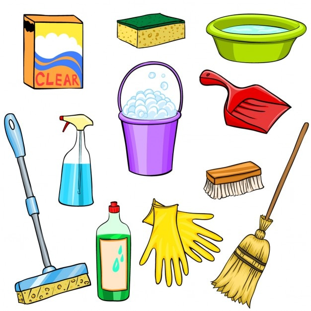 Schoonmaak benodigdheden cartoon set vector gratis download for Imagenes de utiles de aseo