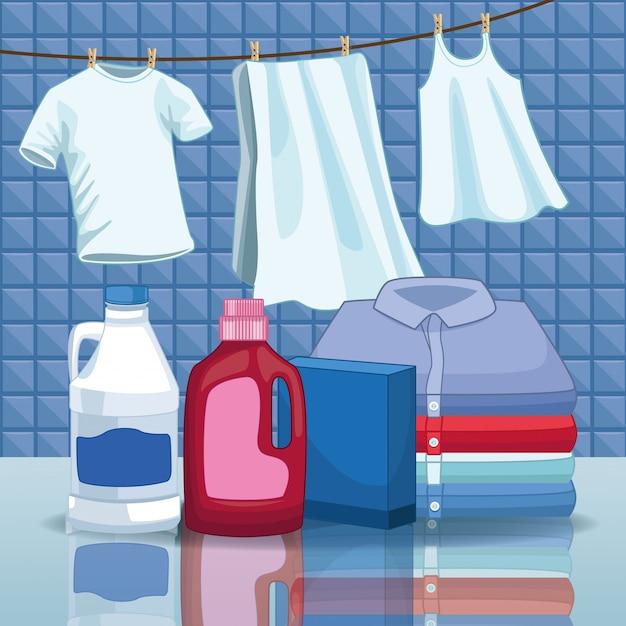 Schoonmaak en schoonmaakset benodigdheden Premium Vector
