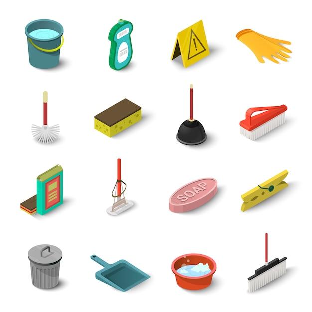 Schoonmaak icons set. isometrische illustratie van 16 schoonmaak vector iconen voor web Premium Vector