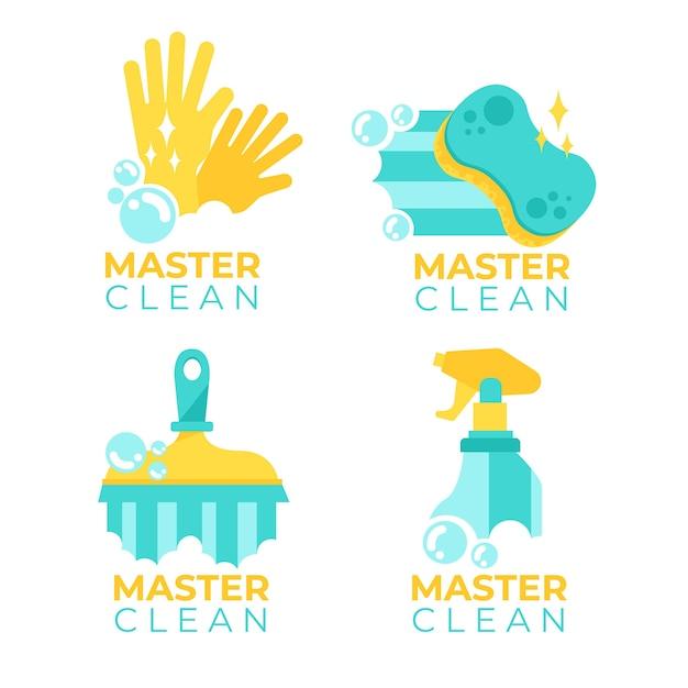 Schoonmaak logo collectie sjabloon concept Gratis Vector