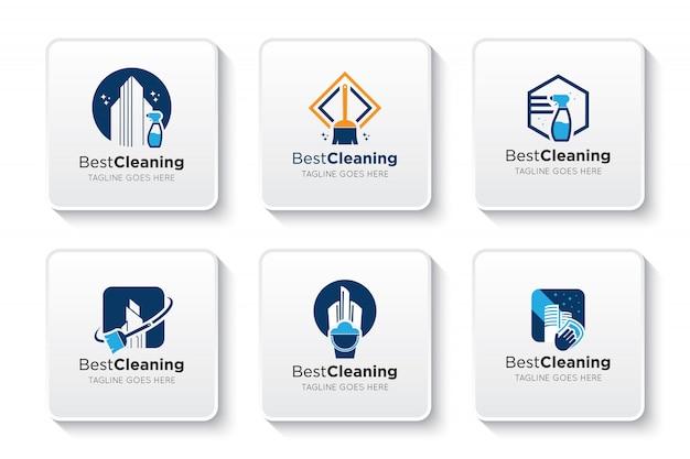 Schoonmaak logo en pictogram instellen Premium Vector