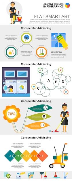 Schoonmaakservice en management concept infographic grafieken instellen Gratis Vector