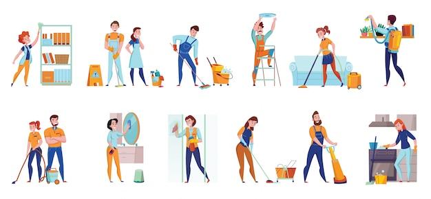 Schoonmaakservice professionele taken platte composities 2 horizontale sets met vloer vegen stofzuigen spiegels wassen illustratie Gratis Vector