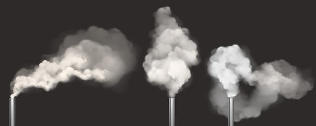Schoorstenen met rook, pijpen met witte stoomset Gratis Vector
