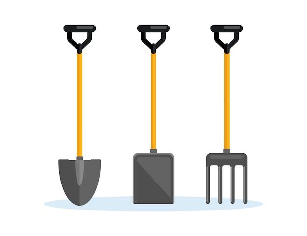 Schop, spade, hooivork, boerderijvork op achtergrond. tuingereedschap, graafelement, uitrusting voor boer. lente werk. Premium Vector