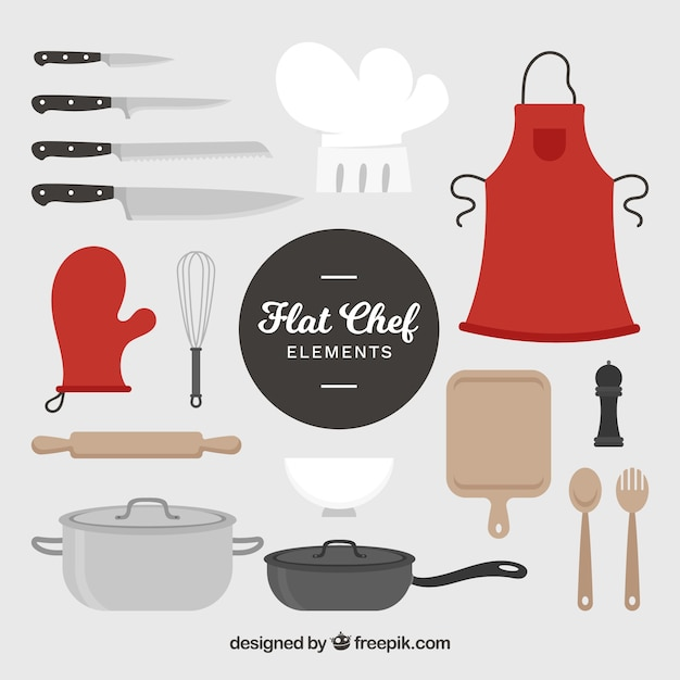 Schort en voorwerpen die nodig zijn om te koken Gratis Vector
