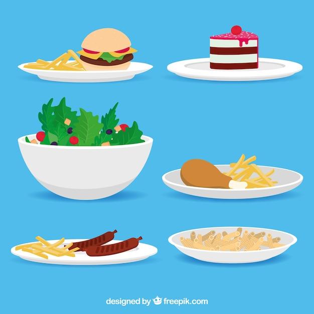 Schotelsinzameling met verschillend voedsel Gratis Vector