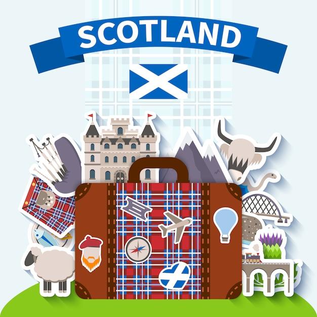 Schotland reizen achtergrond Gratis Vector