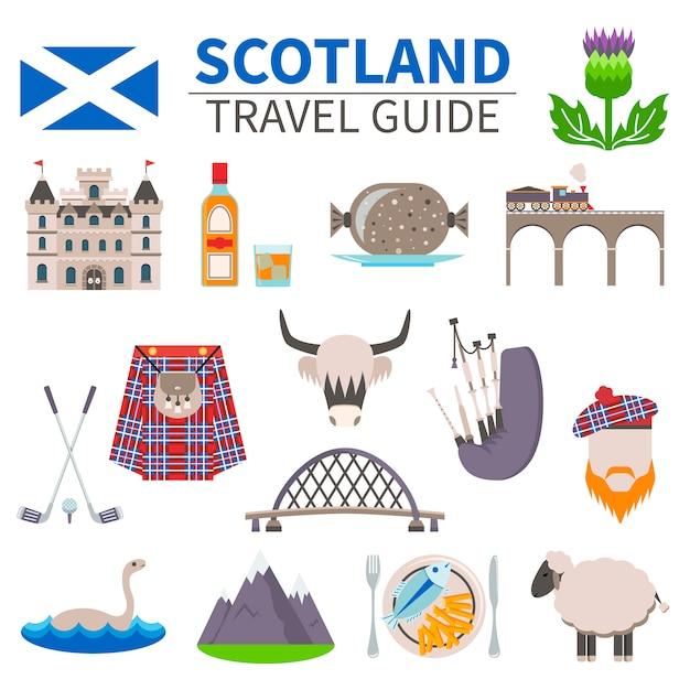Schotland reizen icons set Gratis Vector
