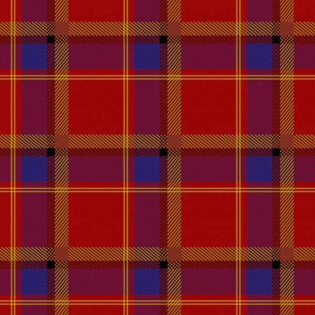 Schotse Geruite Wollen Stof.Schots Wollen Stof Rood Blauw Textielpatroon Vector
