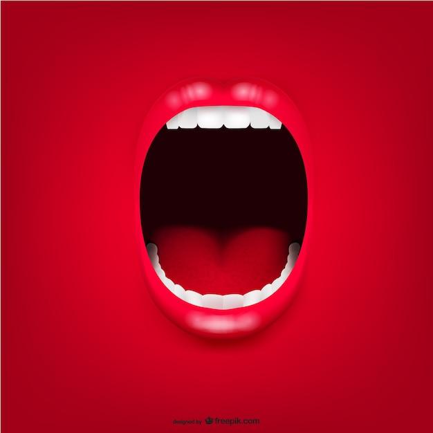 Schreeuwen mond achtergrond Gratis Vector
