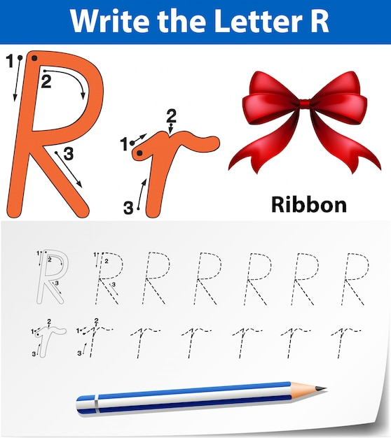 Schrijf de letter r-linten Premium Vector