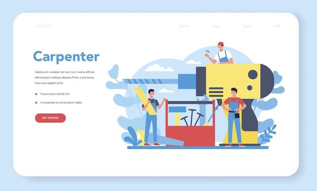 Schrijnwerker of timmerman concept webbanner of bestemmingspagina Premium Vector
