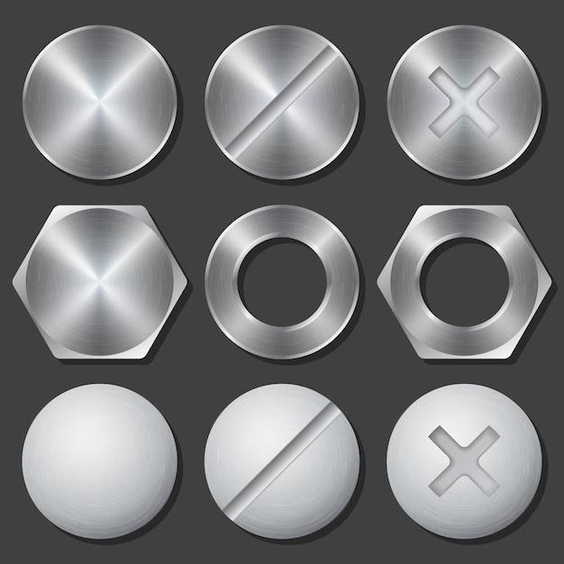 Schroeven, moeren en bouten realistische pictogrammen instellen. klinknagel en bout, kruiskop en zeskant, vaste versnelling, vectorillustratie Gratis Vector