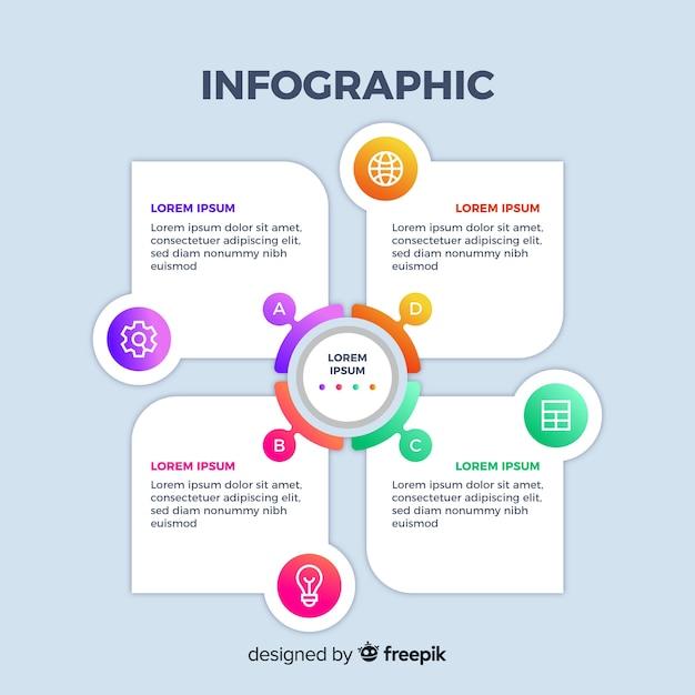 Schuif ontwerp verloop zakelijke infographic Gratis Vector