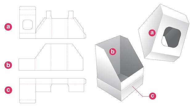 Schuin aflopende doos en deksel met sjabloon voor gestanst venster Premium Vector