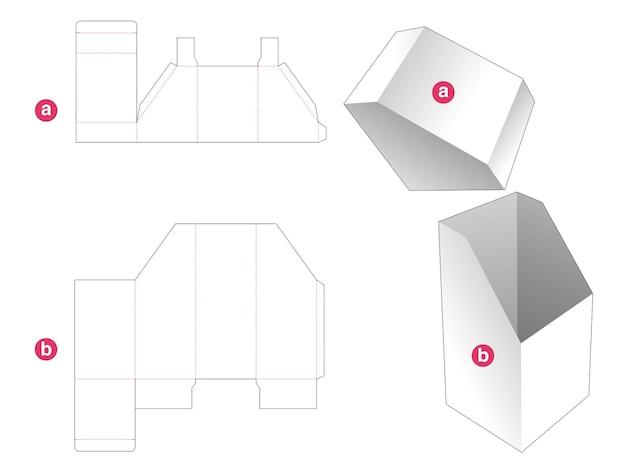 Schuine doos met schuin deksel gestanst sjabloon Premium Vector