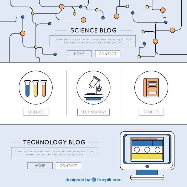 Science blog template Gratis Vector
