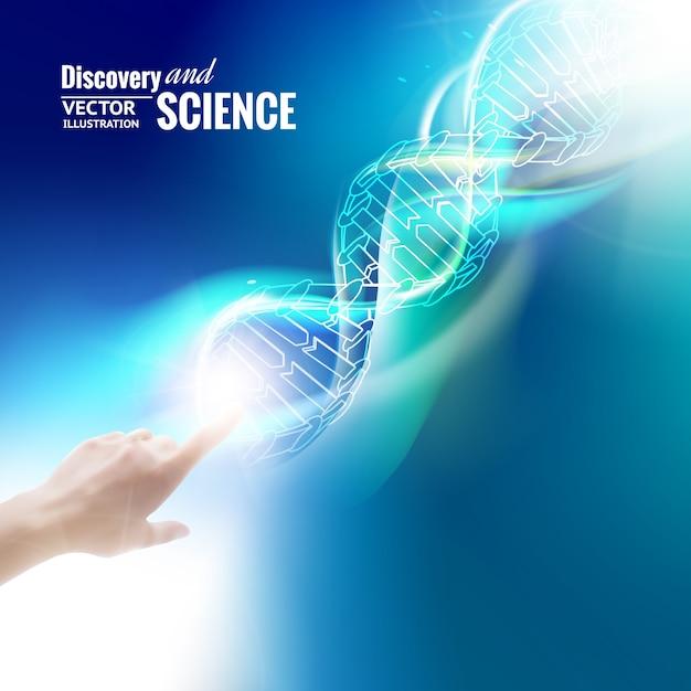 Science concept afbeelding van menselijke hand aanraken van dna. Gratis Vector