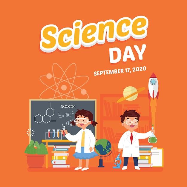 Science day poster schoolfestival Premium Vector