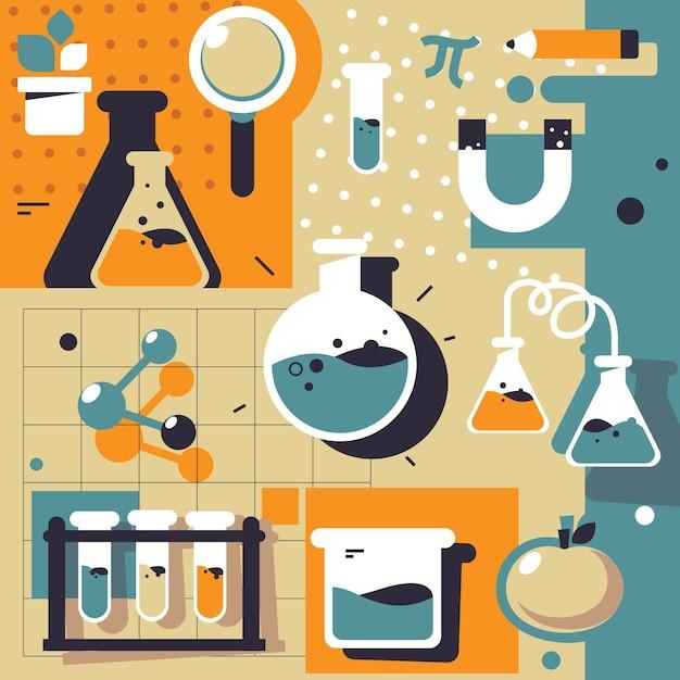 Science lab-elementen instellen Gratis Vector
