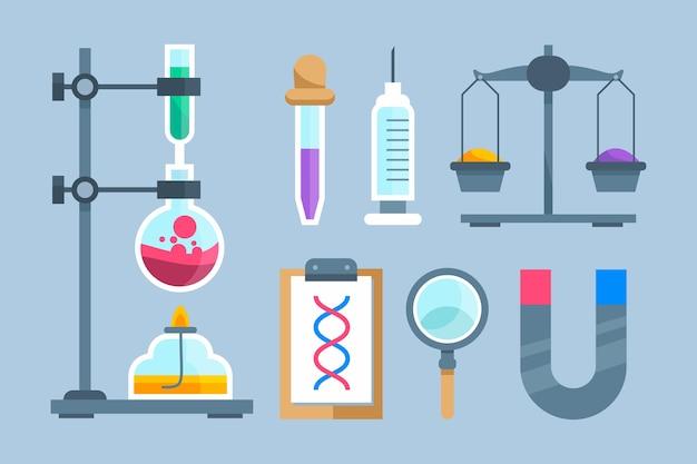 Science lab-objecten collectie Gratis Vector