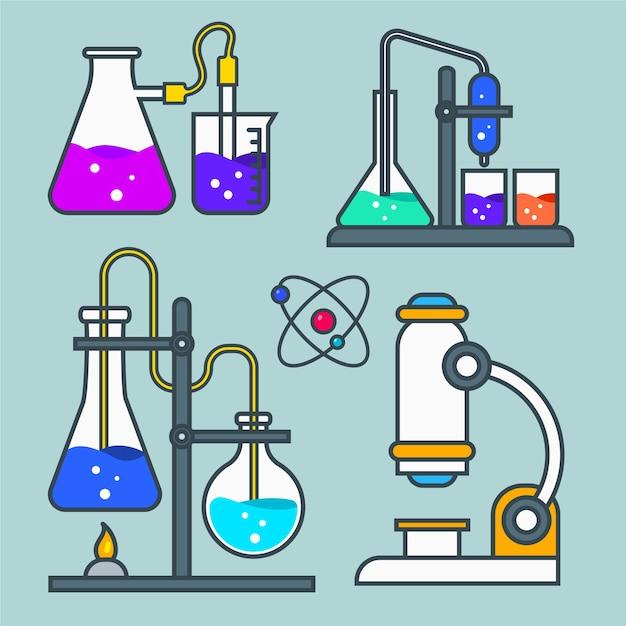 Science lab-objecten instellen Gratis Vector