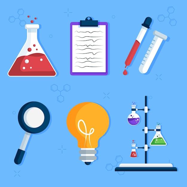 Science lab-objecten instellen Premium Vector