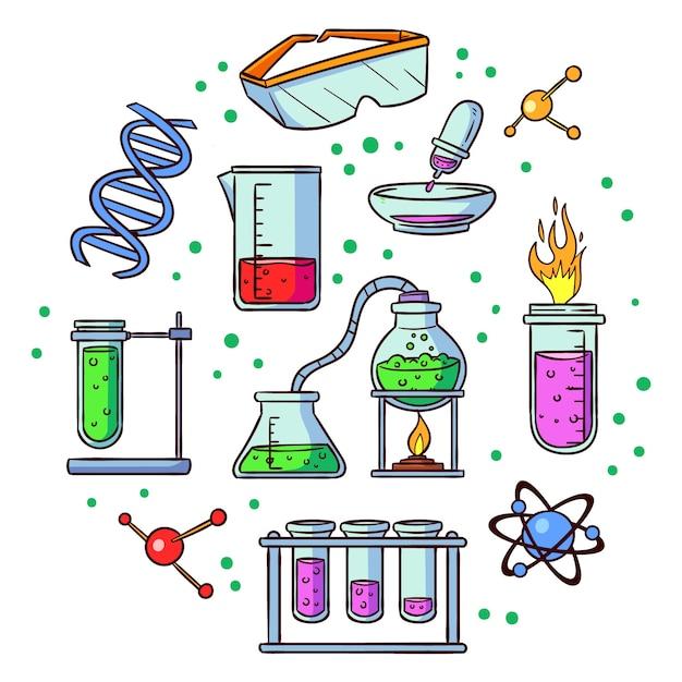 Science lab-objecten Gratis Vector