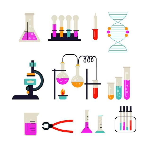 Science lab-objectenpakket Gratis Vector