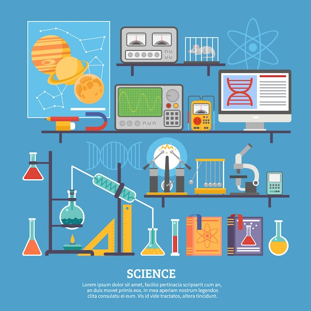 Science research laboratory flat banner Gratis Vector
