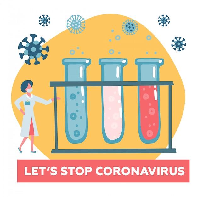 Scientist doctor test bloed op gevaarlijke coronavirus cov. bewustmakingscampagnesjabloon voor website, bestemmingspagina met oproep tot actie. vlakke afbeelding. Premium Vector